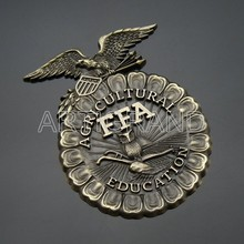 High quality antique agricultural ffa education emblem
