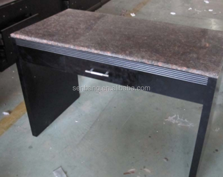 wooden desk with drawer and granite