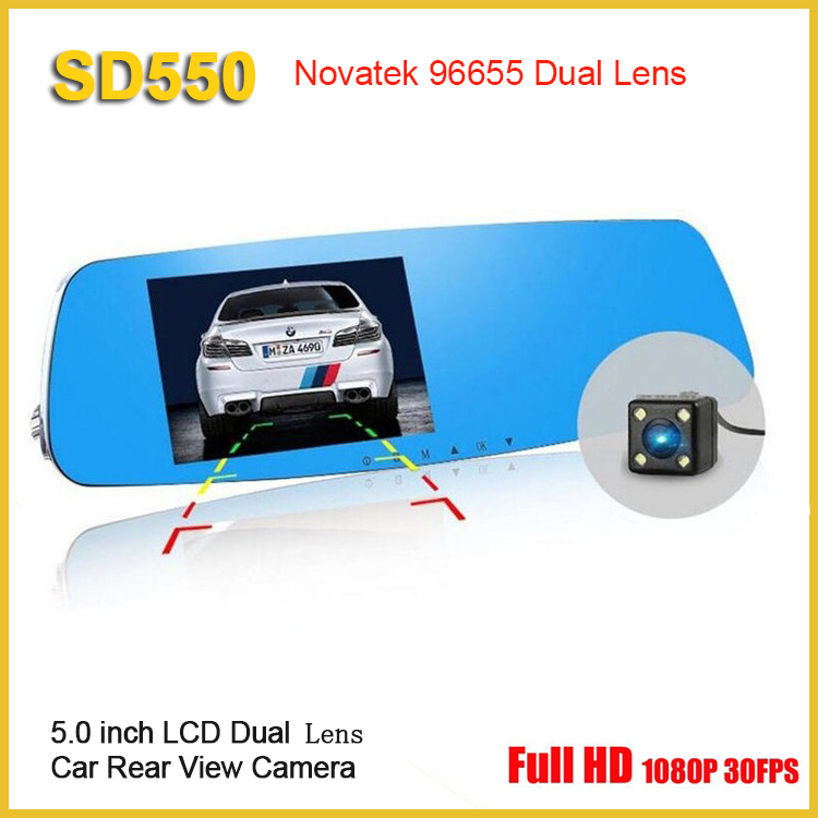 5.0 inch Top Grade Novatek 96655 Car DVR Full HD 1080P Rearview Mirror Car Camera Dual Lens Vehicle Video Recorder Night Vision