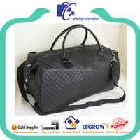 Quilted PU leather holdall man sports travel bag with wheels