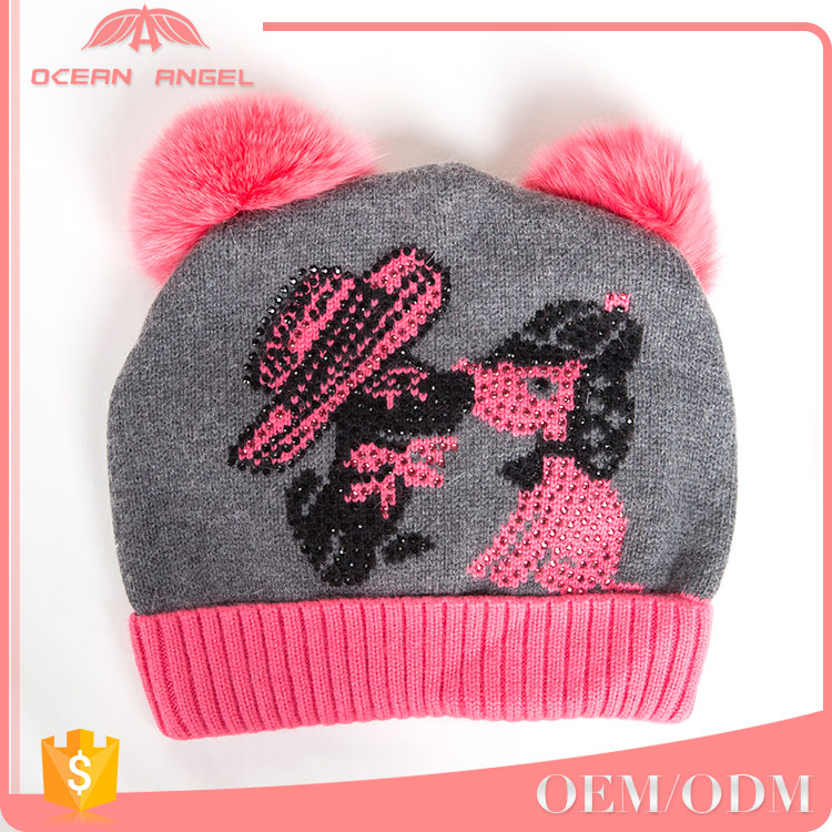 Hot Sale functional cartoon kids winter knitted hats and caps beanie with fur pompom