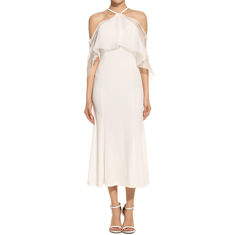 white princess maxi dress gor women clothing halter wedding dresses off-shoulder in good costs