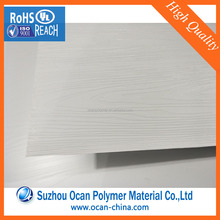 White Hard Wood Grain PVC Lamination Film Plastic PVC Sheet with 2 Protective PE Cover for Door Panel
