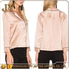 Pink Silk Satin Blouse For Women Smart Casual Wear Pajamas Style Long Sleeve T-Shirt