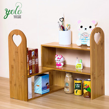 Adjustable Natural Bamboo Desk Bookshelf Bamboo Desktop Storage Organizer Display Rack