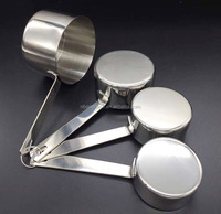 4 pieces stainless steel measuring cups, measuring spoon