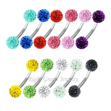 Promotion Prices Ferido Eyebrow Ring Double Crystal Ball Eyebrow Piercing Stud