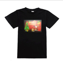2018 Christmas tree design light up flashing LED EL panel T shirt