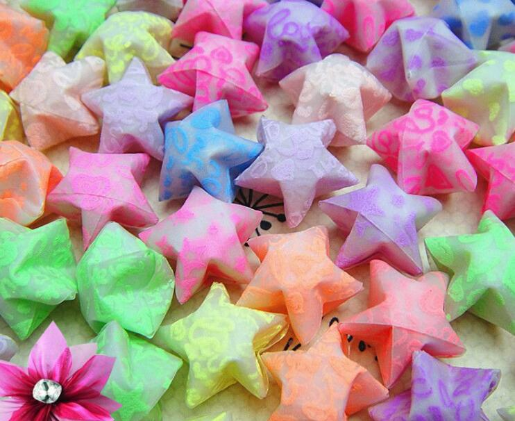 Luminous origami heart star