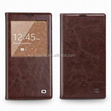 QIALINO 2016 genuine real leather cover with smart view window case for galaxy note 3