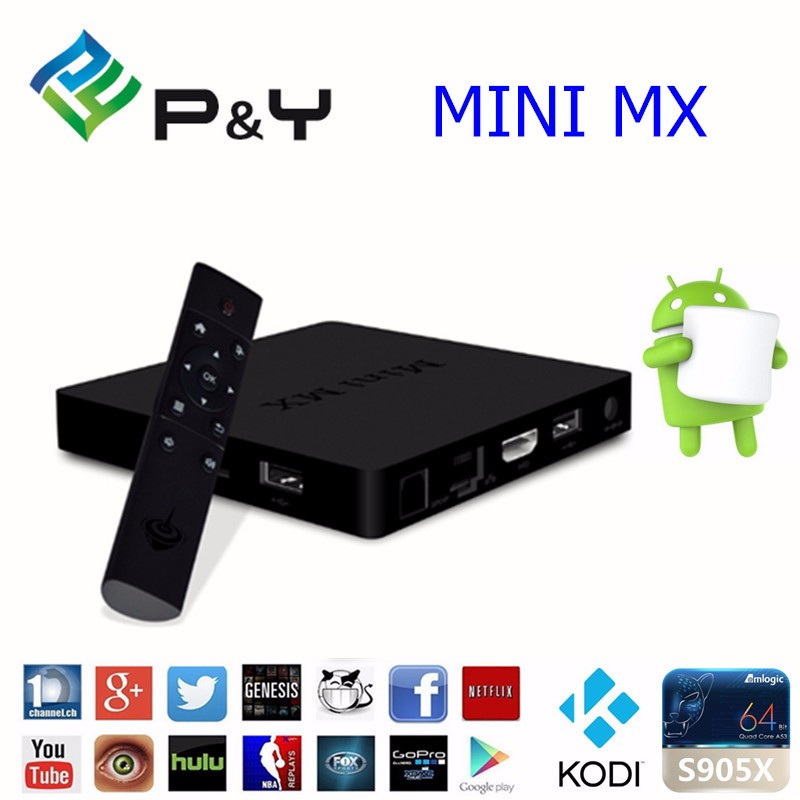 P&Y 2016 top selling Smart Android 5.1 TV Box MINI MX II 2GB+16GB 1000M Network