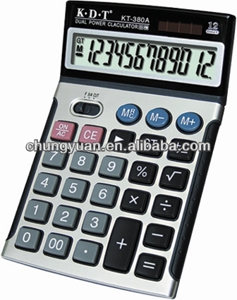 Big size desktop calculator with solar energy for office
