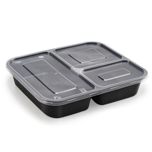 Stackable 3-compartment microwaveable safe food container ,10pcs per pck with <strong>paper</strong> sleeve wrap
