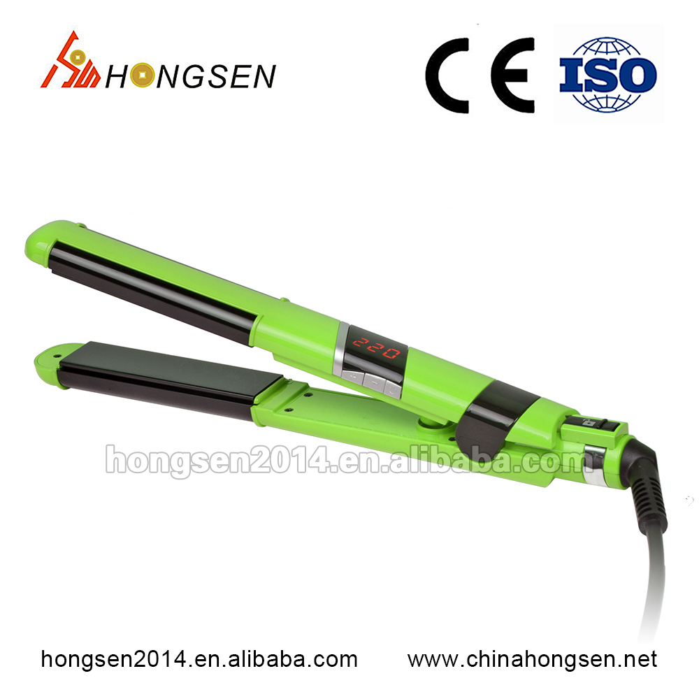 Best gifts colorful LCD ptc heater brand names Portable fast hair straightener and hair curler