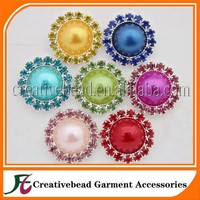 Customize Rhinestone Button With Pearl For Garment