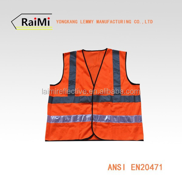 Cotton / Polyester Red High Visibility Vest PVC Tape Security Reflective Vest
