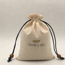 Custom Drawstring Cotton Seed Packaging <strong>Bag</strong> With Beads