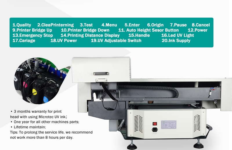 40*60 Digital UV Led Flatbed Desktop Printer For Sale