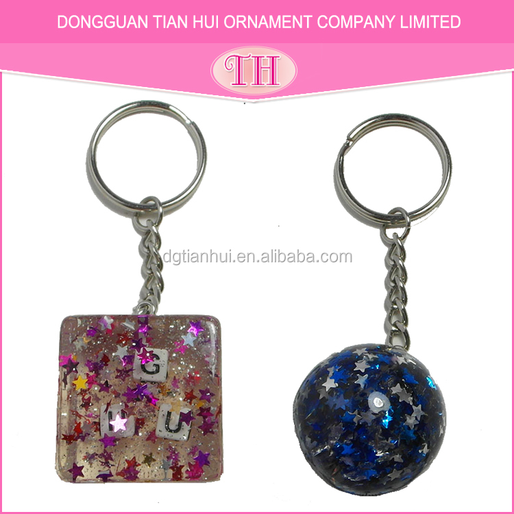 Good quality square round shape glitter resin metal custom cheap keyring wholesale