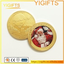 Metal Decoration Wishing Coin Happy Holidays Santa Claus Gold/Silver Merry Christmas gift coin