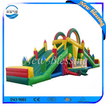 0.55MM PVC Material Green Color Inflatable Fun City Slide for Kids