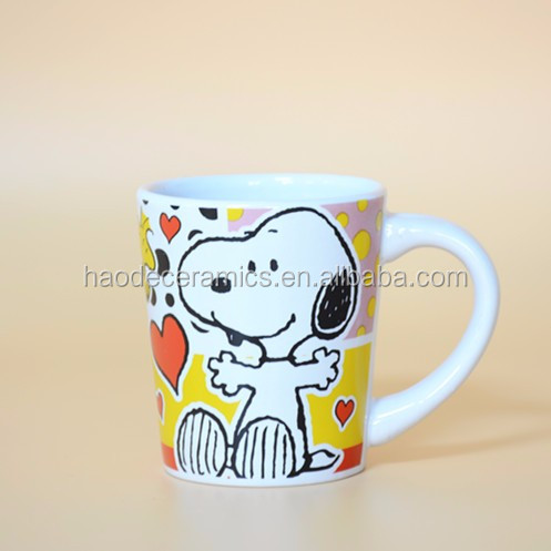 [ ZIBO HAODE CERAMICS]manufacturer wholesale 7 oz children ceramic mug with cartoon logo