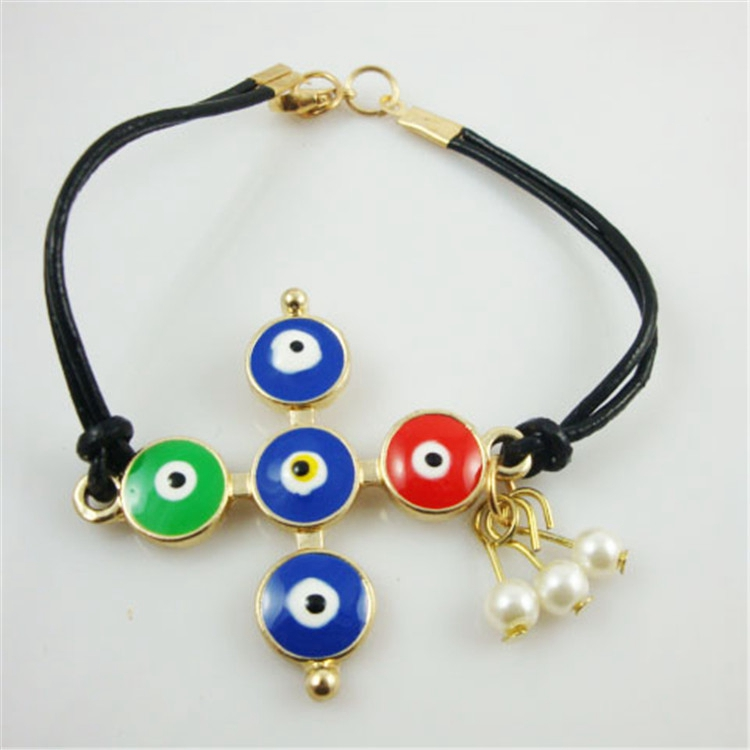 Colorful Evil Eye Gold Cross Leather Bracelet Wholesale Turkish Jewelry