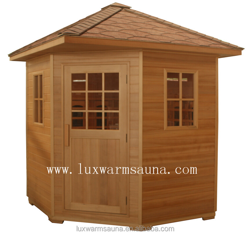 Hemlock outdoor steam sauna house with waterproof roofing