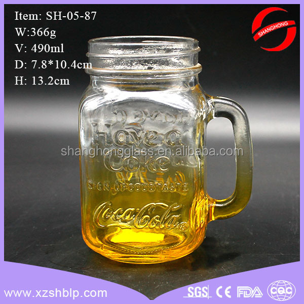 Hot Network Beverage bottle mason jar drinking glass with handle