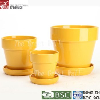 4 Inch Yellow Ceramic Flower Pot Buy Flower Pot Ceramic