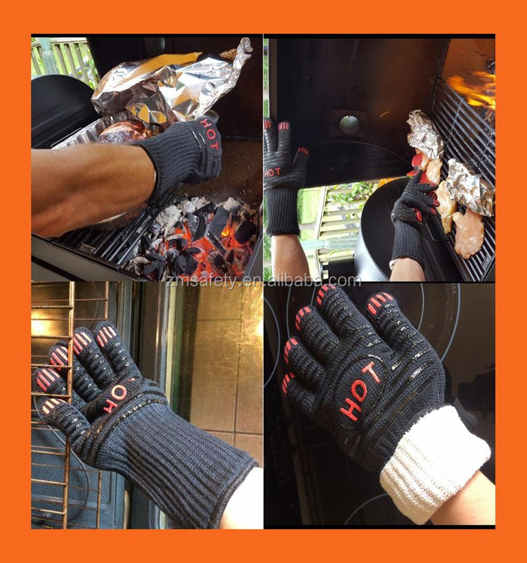 OEM Design Promotion Gift BBQ Gloves Extreme Heat Resistant Long Forearm Safety Protection Oven Grill Cooking Glove