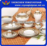 china market 103PCS gold plated FINE ceramic cookware sets
