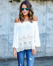2017 Boho Women Off the Shoulder Crochet Blouse Tops Casual apparel