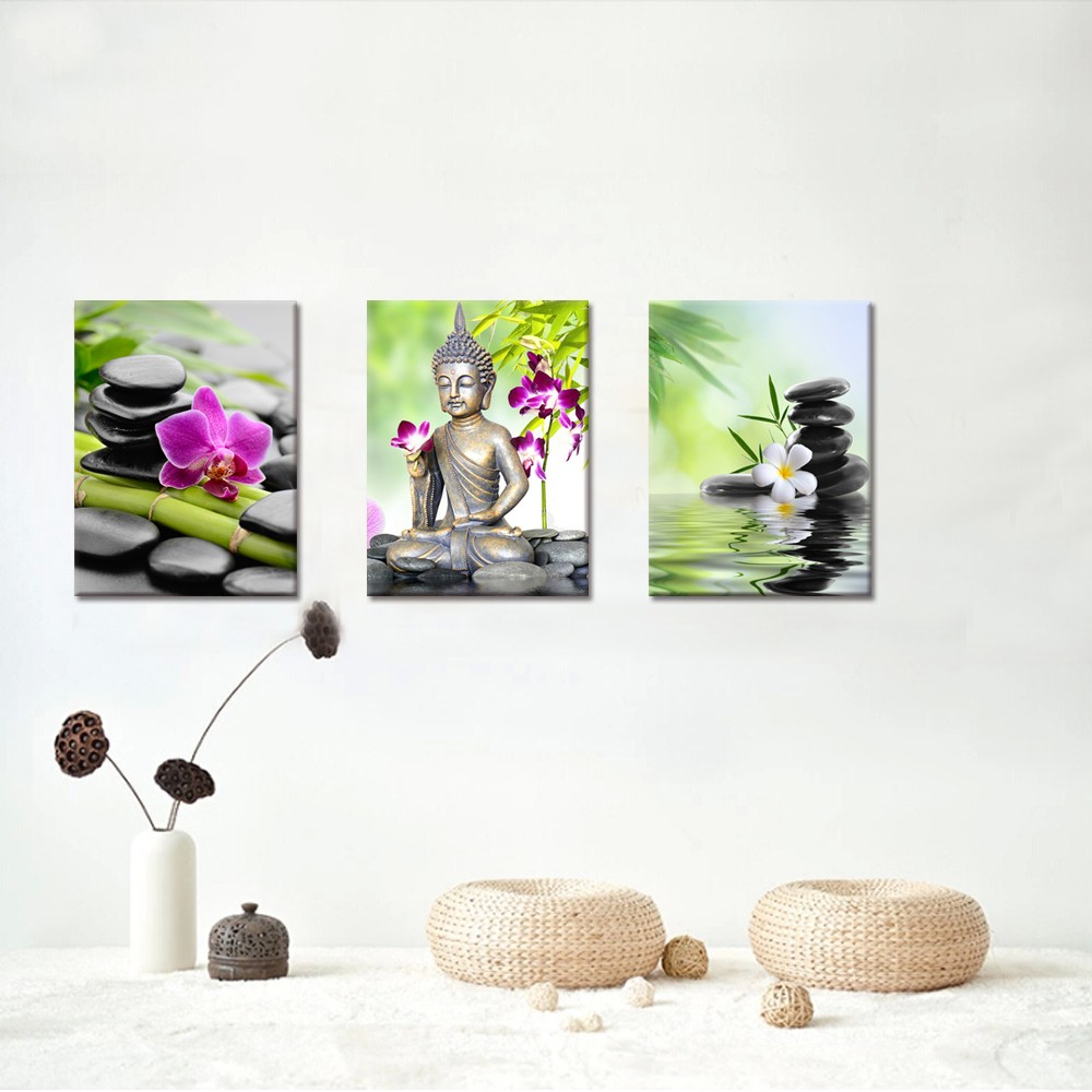 Buddha Canvas Wall Art Zen Stone Orchid Flower Painting Picture Printed on Canvas for Home Wall Decor