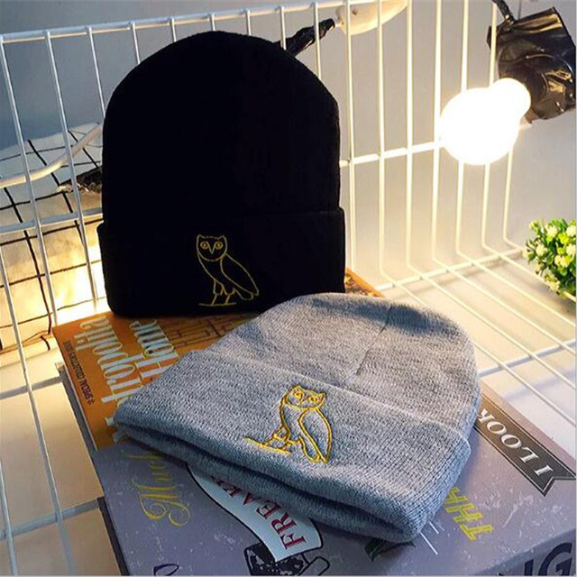 New Men's Winter Hats Handmade Embroidery Owl Knitted Beanies Fashion Caps