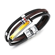 Marlary Fashion Jewelry Gold Plated Mix Color Stainless Steel Leather Bracelet
