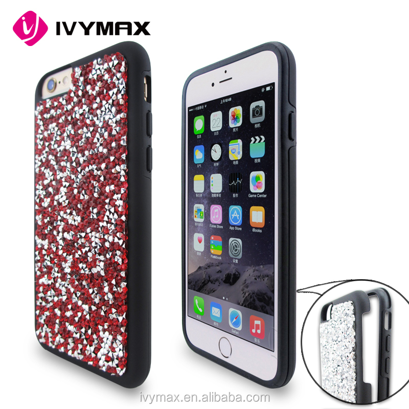 IVYMAX Red Mini Crystals Rhinestones Desire Candy Skin Cover with Soft TPU Frame For Iphone 6s phone case