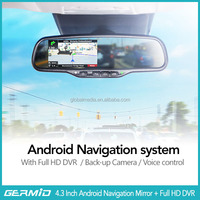 2014 Newest rearview mirror gps android+ gps navigation system+garmin handheld gps+parking sensor system