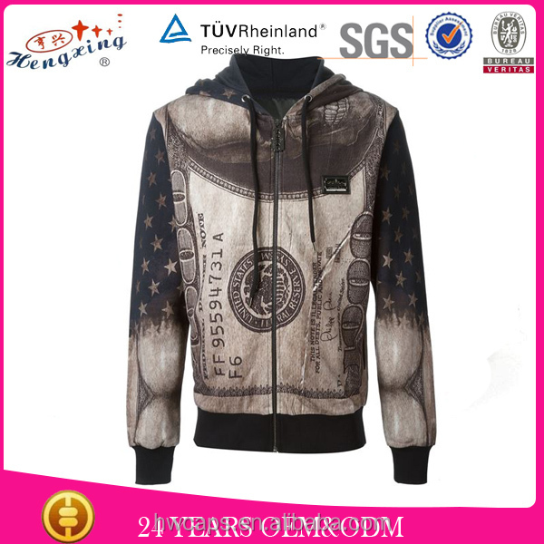 Money full print black man model sweater for men
