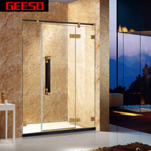Luxury Hinge Tempered Glass Black Bath Shower Screens GD9030D