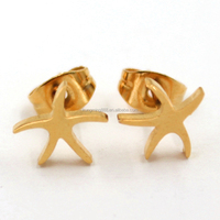 Alibaba China Stainless Steel Starfish Imitation Stud Gold Earrings for Women Jewelry
