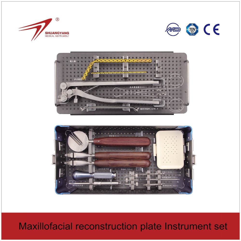 Maxillofacial Reconstruction Surgery Instrument box set for mandible surgical implants