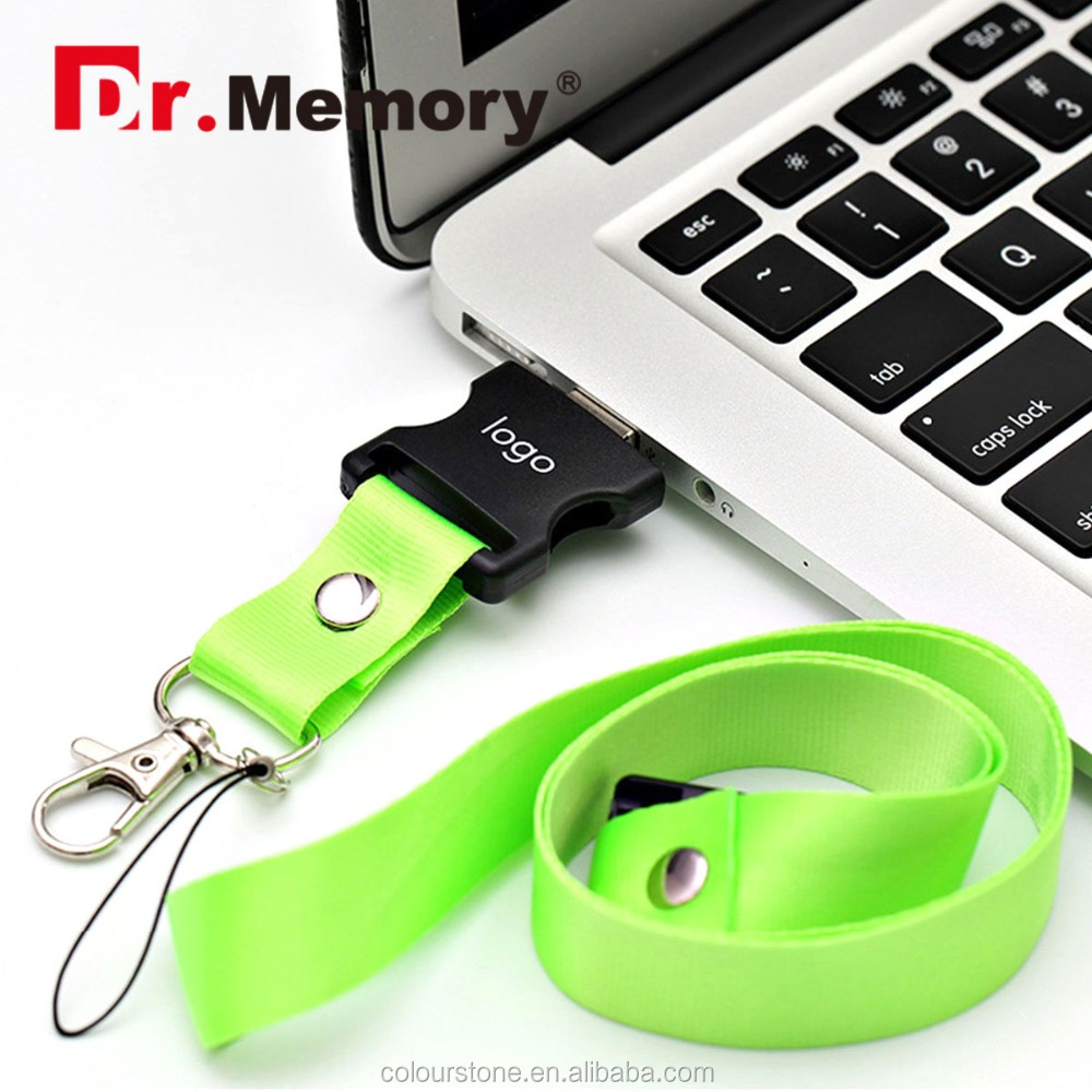 Dr.memory Promotional neck strap usb flash drive/wholesale custom logo lanyard usb pendrive stick 8GB 16GB