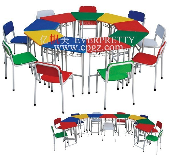 Colorful Children Cartoon School Desk and Chair,Kindergarten Cartoon Kids Desk and Chair for School