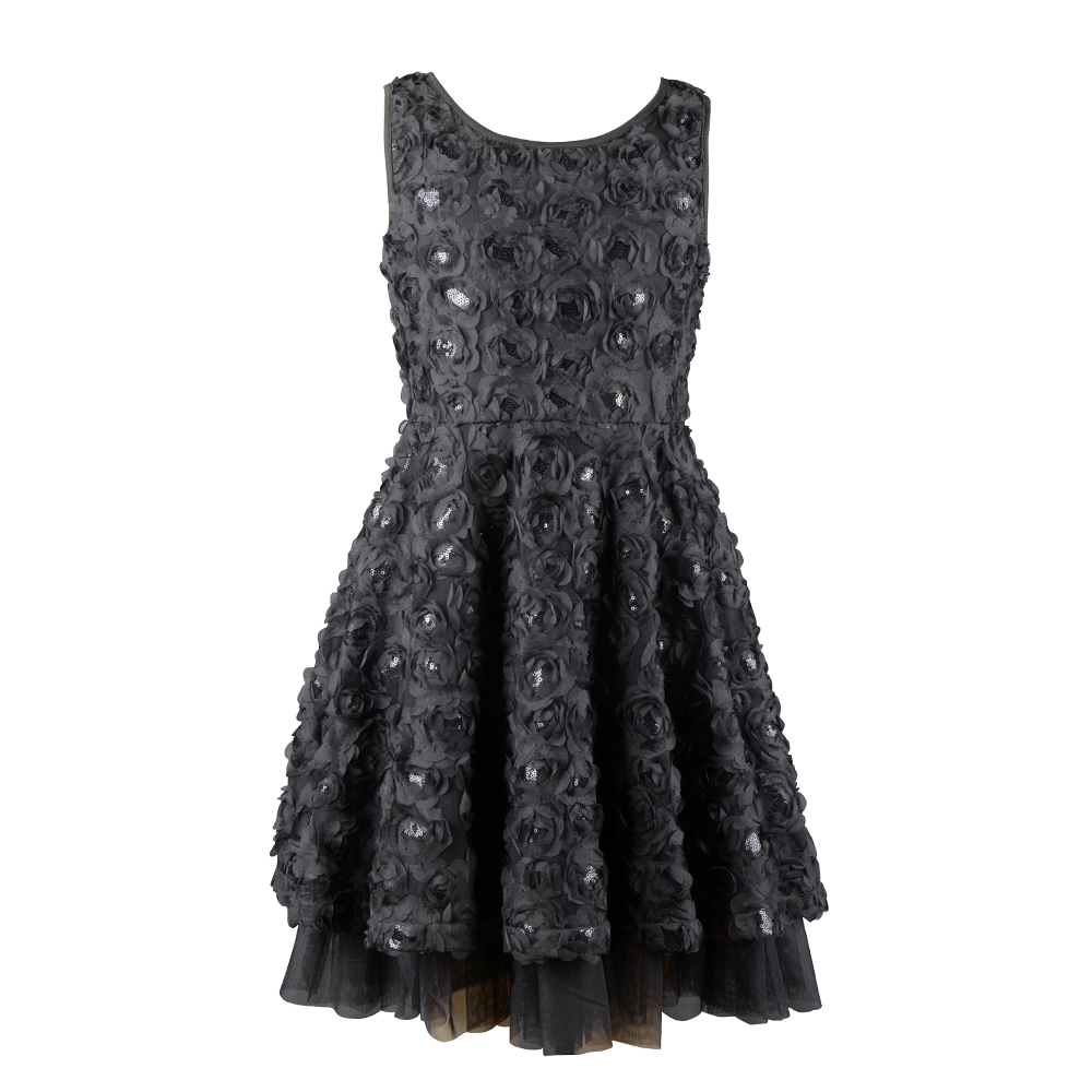 black embroidery flower girl child sequins frock dress designs