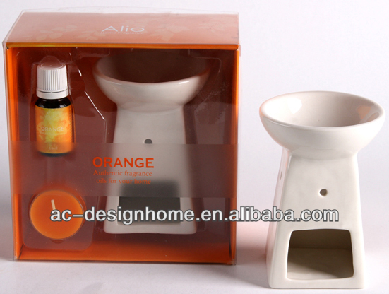 ORANGE COLOR CERAMIC AROMA OIL BURNER DIFFUSER GIFT SET W/1 PC TEALIGHT AND 10ML ORANGE FRAGRANCE OIL