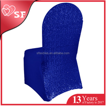 Hot sale factory price navy blue sequin elastic spandex chair cover
