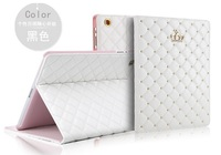 For Apple Ipad 2/3/4 Diamond Flip Leather Case Luxury Crown Soft Leather Fold Stand Smart Tablet Protective Cover