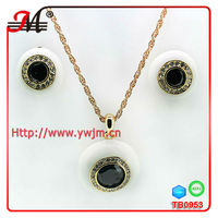 TB0953 wholesale stone white enamel eyes jewellery sets earrings and necklace sets nakit setovi