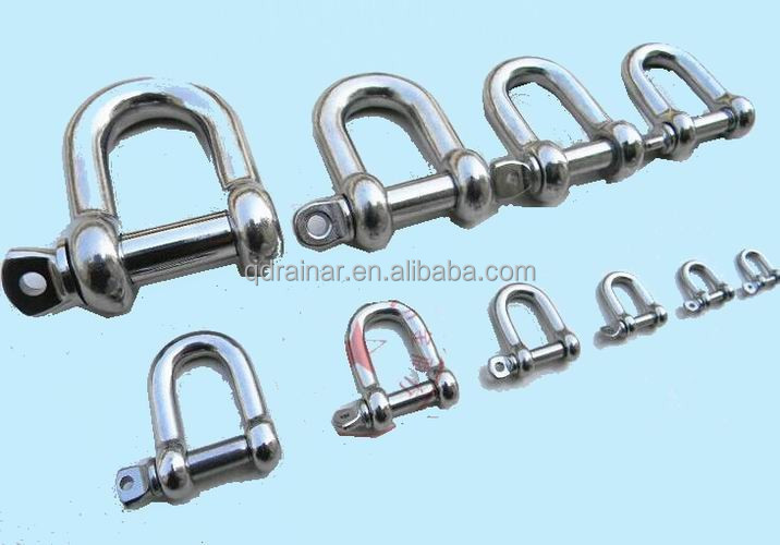 boat marine milling industrial line Widely Usage stainless steel mini type D shackle bow shape shackle